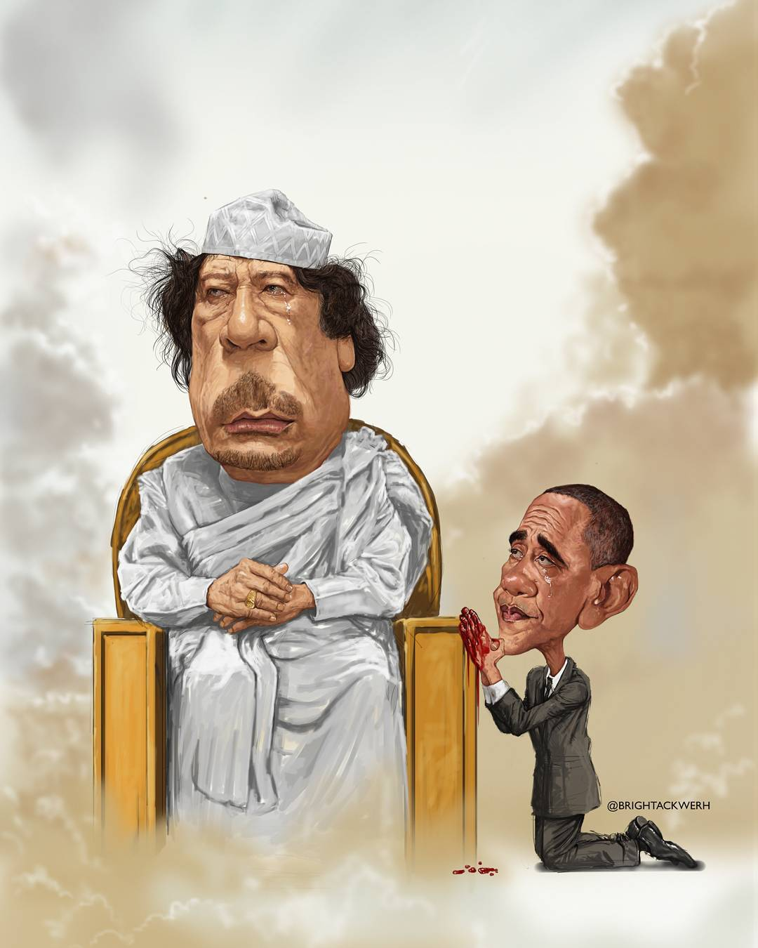 The Son's Tear from Bright Ackwerh's Very Very Graphic Series. ARt shows Barack Obama pleading for mercy from a crying Muamar al Ghadaffi who sits on a throne in what could be interpreted as heaven.