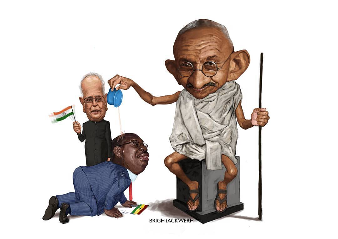 #Ghandi4ComeDown artwork by Bright Ackwerh in support of a campaign to take down Ghandi's statue from the University of Ghana on the grounds that Ghandi was racist towards black people.