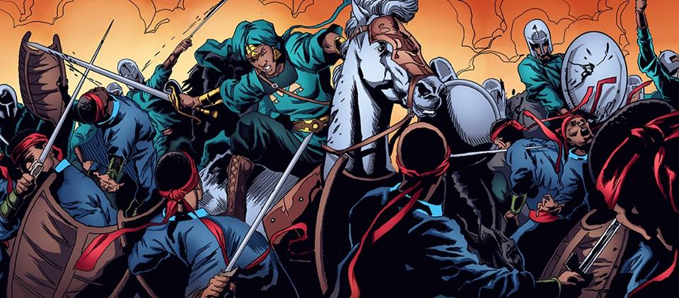 panel from Malika warrior queen where she slashes her enemy with her men while on horseback.