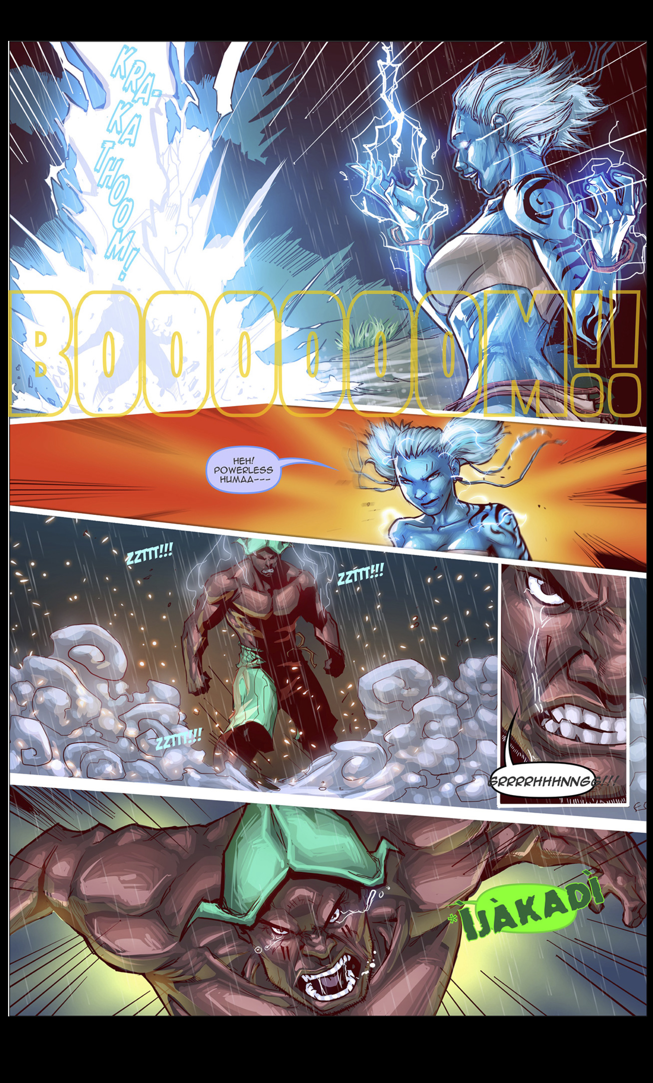 panel depicting fight between a mortal and a god from visionary ascension comic