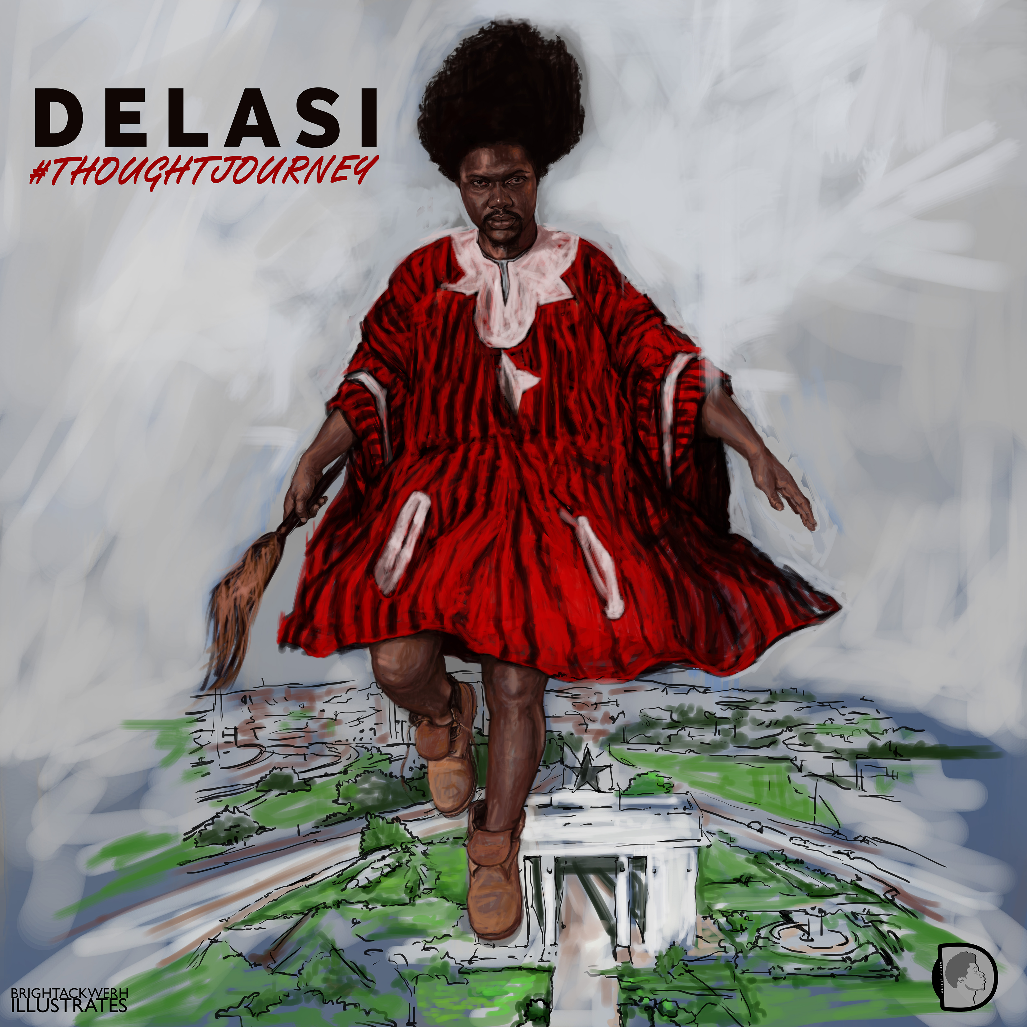 Delasi's Thought Journey album cover illustrated by Bright Ackwerh.