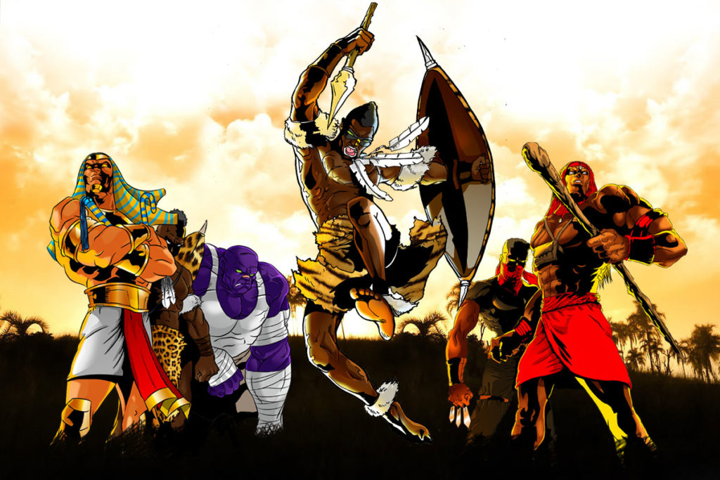 Africa's legends by Leti Arts featuring African warriors