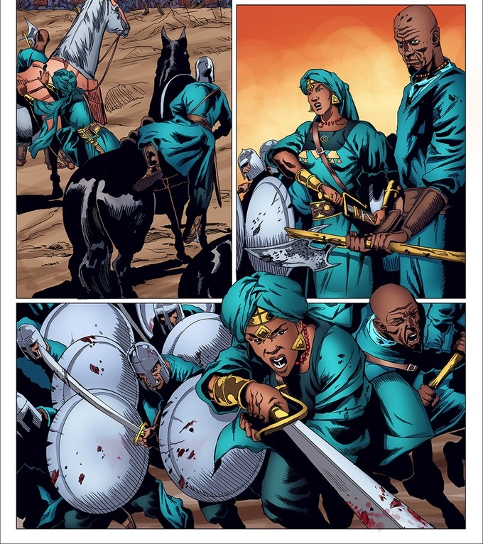 Page showing Malika Warrior Queen and her troops charging towards the enemy.