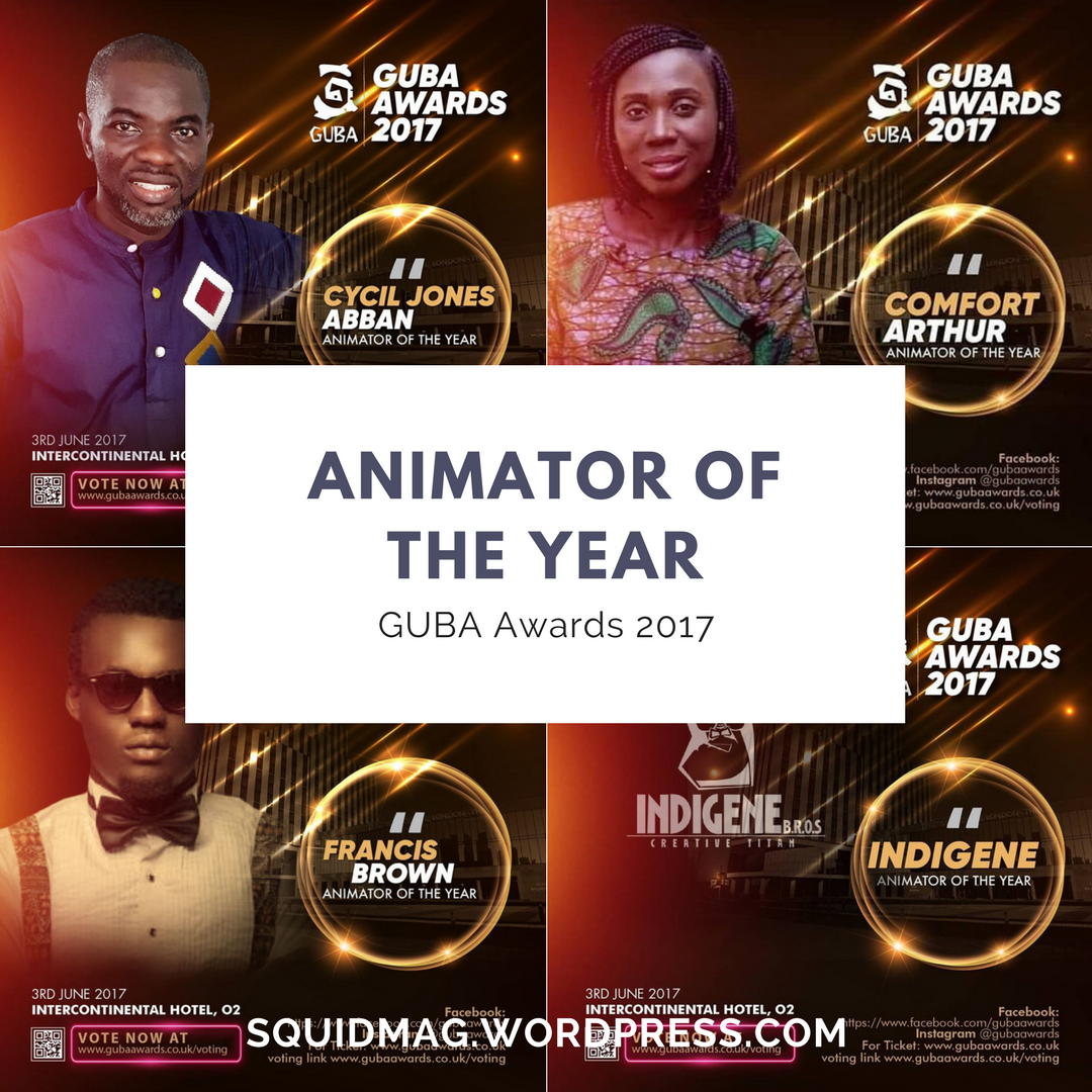 Collage of nominees for the 2017 GUBA Awards' Animator of the Year category