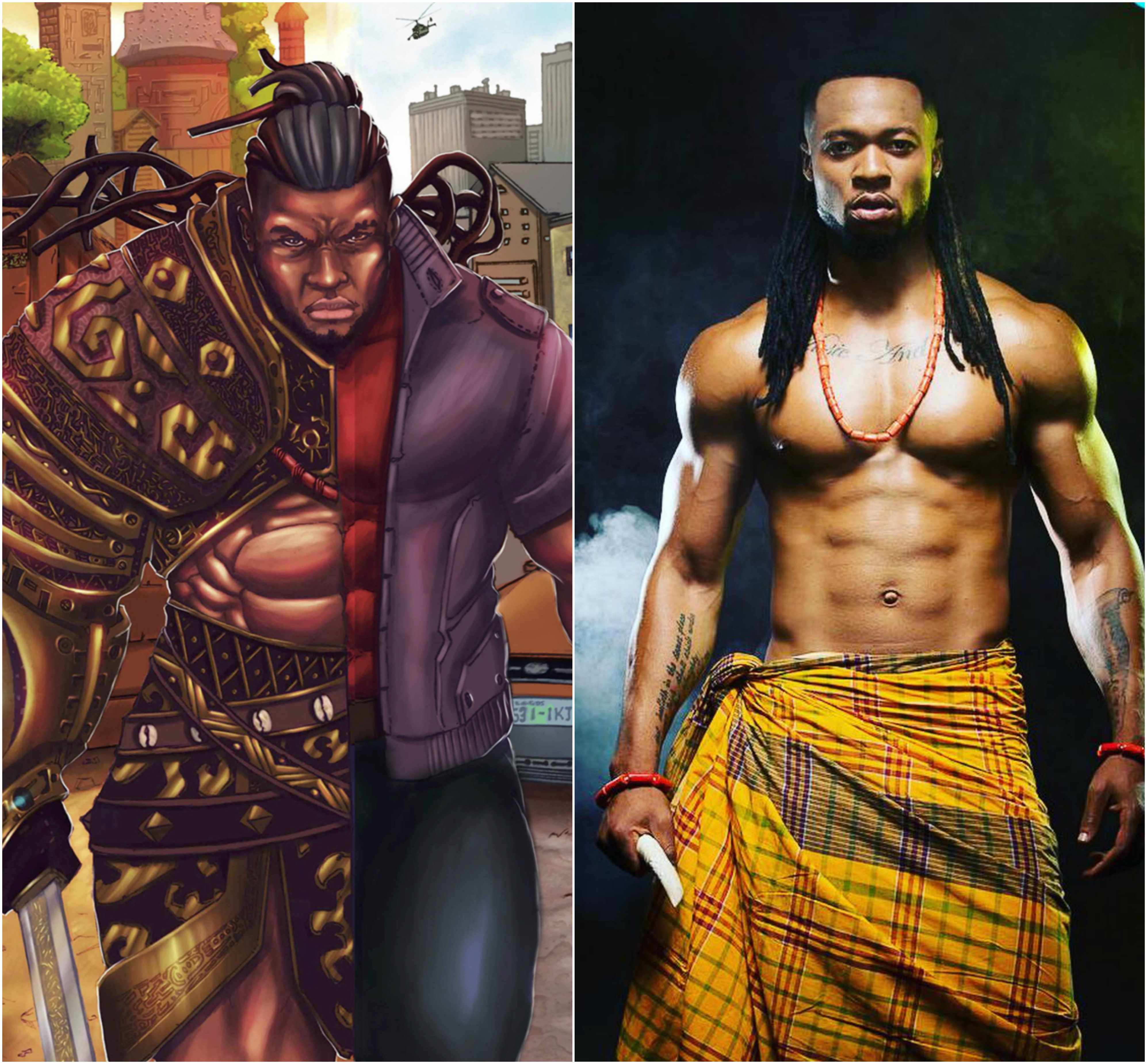 Alaric and Flavour side by side comparison in this African comic book, Scion: Immortal.