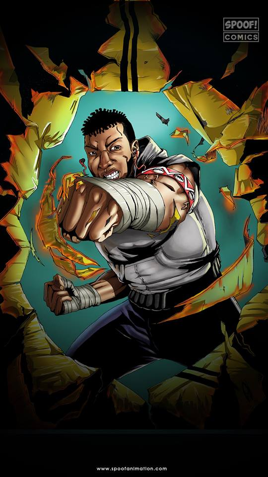 Boxsa comic cover by Spoof Comics. The cover features the titular character punching through what looks like a wall. His fists are wrapped in bandages.