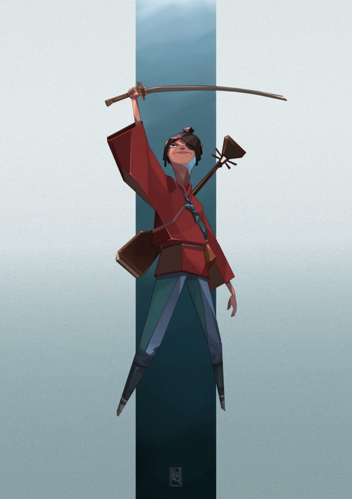 Kubo illustration from Kubo and the Two Strings by Alfred Achiampong