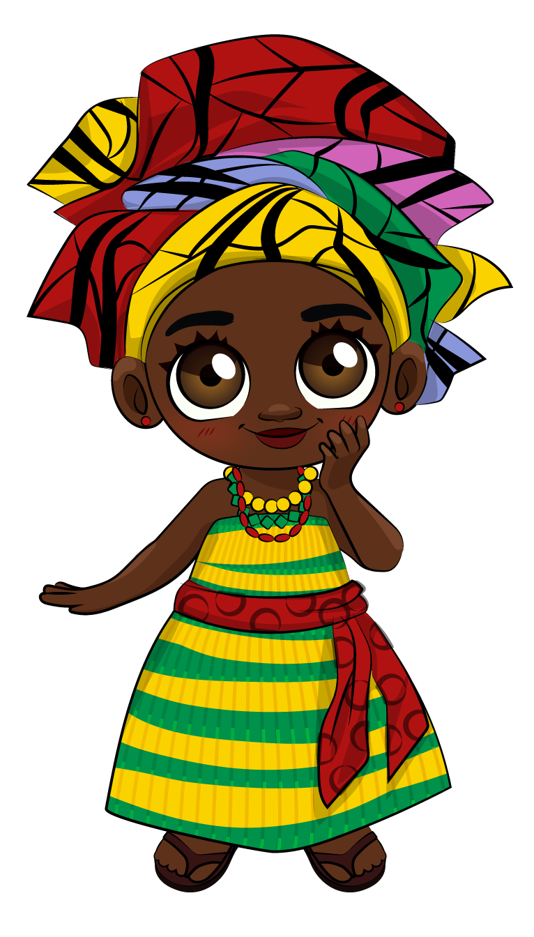 A character from the Akan Tree animated learning channel