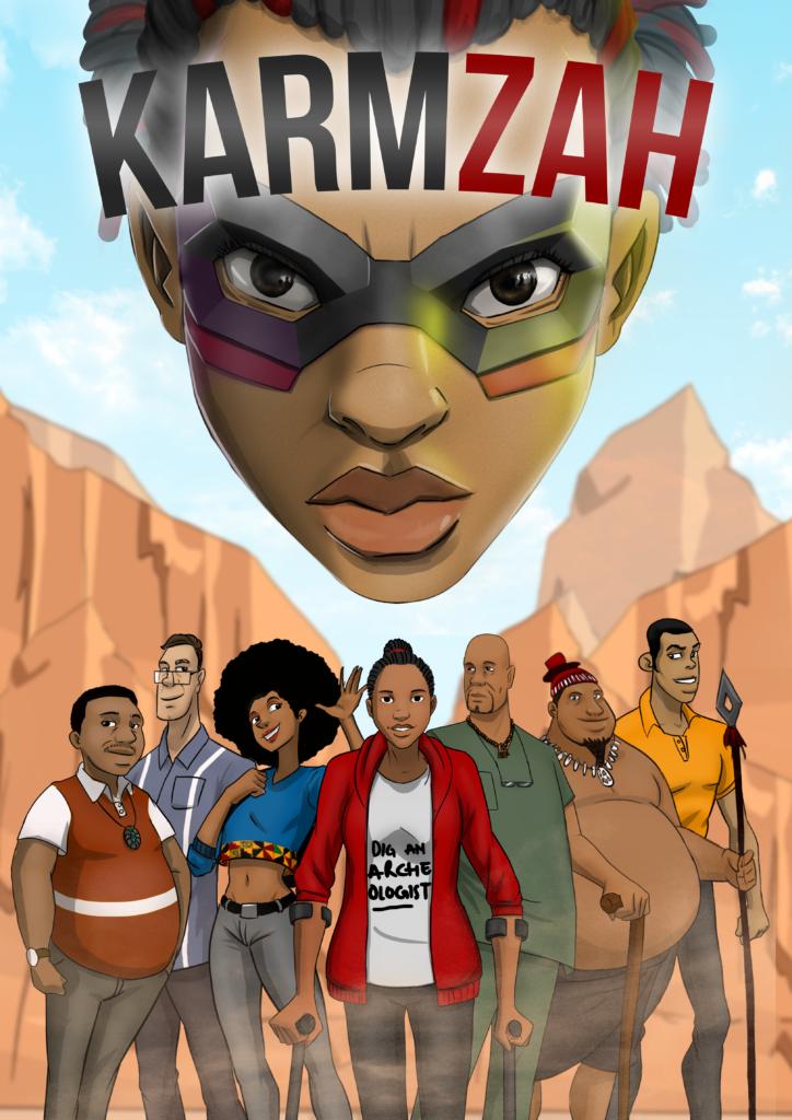 Karmzah superhero comic book cover