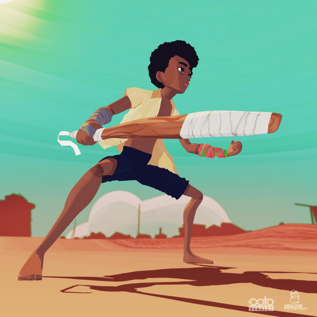 Sai Poyo poised for action. Still from Chaskele Animation by Bertil Toby Svanekiaer