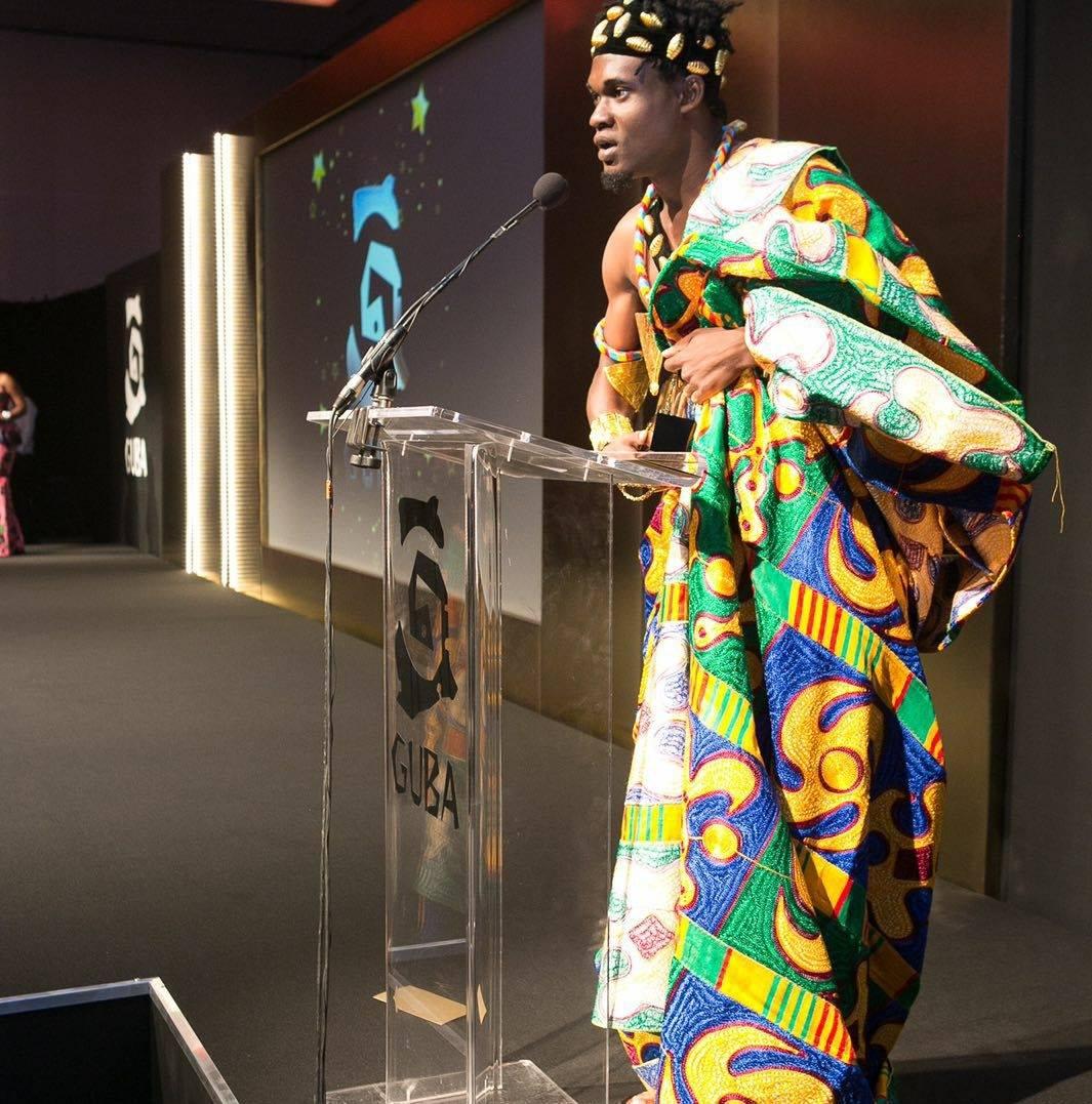 Francis Brown giving his acceptance speech at the GUBA Awards