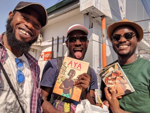 Kofi Sydney Asare, Kadi Yao Tay, Kofi Nyameye, Comic Book Nerds in Accra in front of Vidya Bookstore Osu