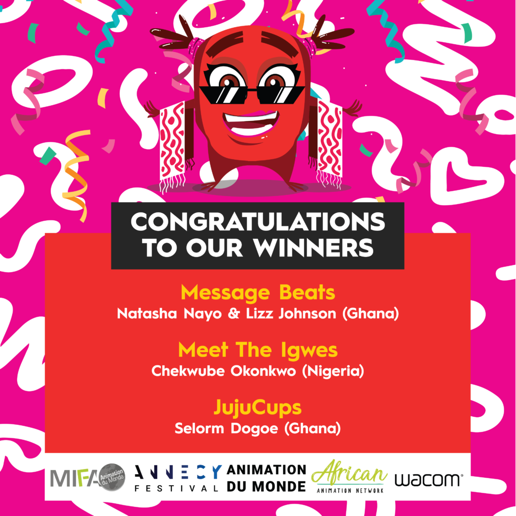 Winners of the Annecy MIFA Pitches at Accra Animation Film Festival 2019