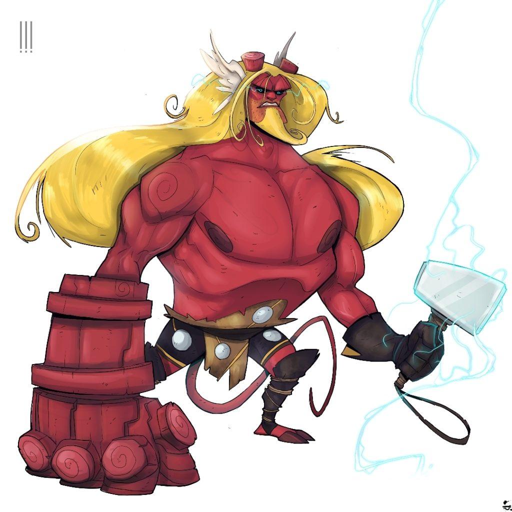 Hellthor (Hellboy + Thor) by Simangaliso Sibaya