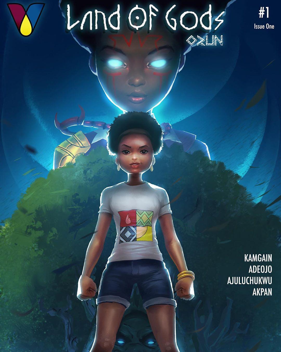 Land of Gods comic cover Vortex Comics. Nommo awards nominee