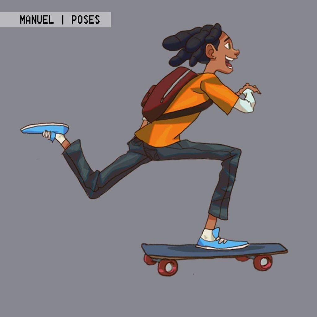 Manuel character design poses by Braku Star showing Manuel skateboarding