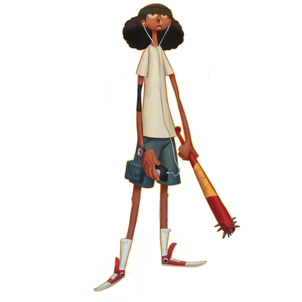 Piko by Kofi Braku Star Ofosu. Illustration of a boy wearing a grey t-shirt, Converse sneakers, shin high white socks, cargo shorts with an afro tucked into a beanie and a spiky bat.
