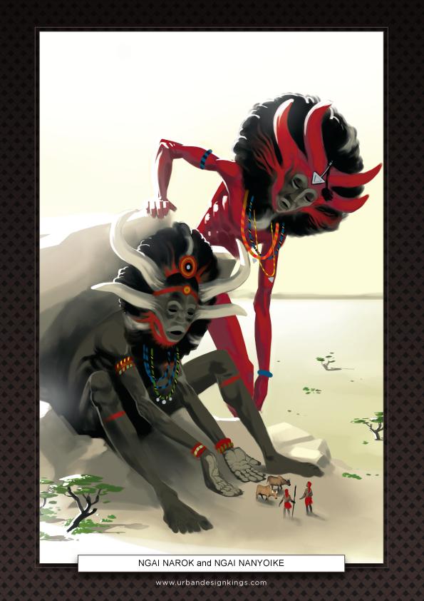 NGAI NAROK and NGAI NANYOIKE from the 10 GODZ poster series by Salim Busuru for Avandu Vosi