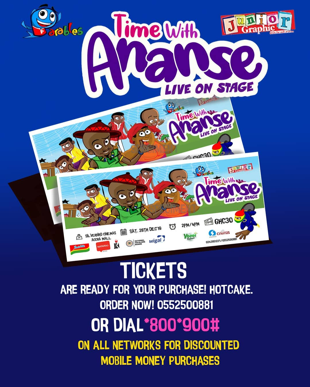 Time With Ananse, Live on Stage by Parables Animation Studio, creators of Mighty Joo