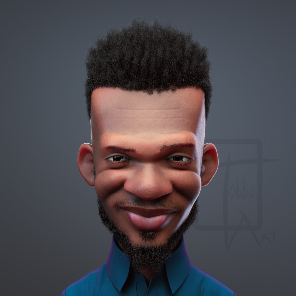 Koby Spiky Nkrumah 3D portrait