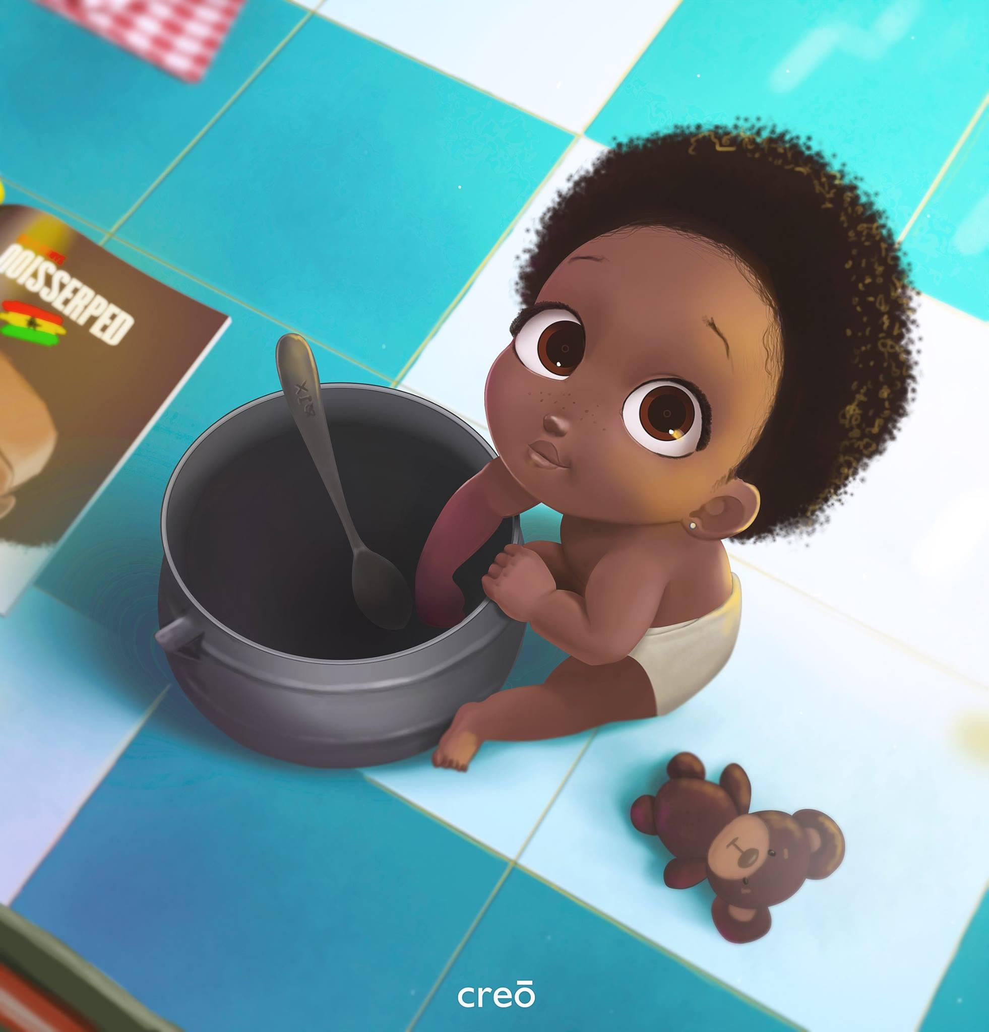 Baby versus Food Pot by Nils Britwum