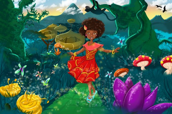 colorful illustration of little African girl in a garden-like forest by Mika Hirwa