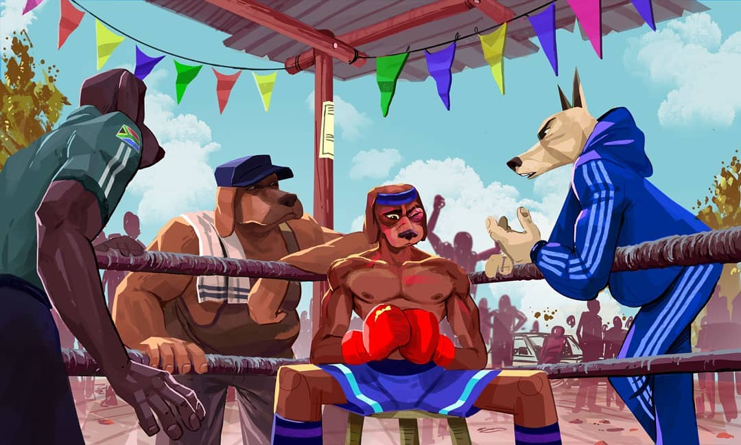 Dogs Box fanart by Mogau Kekana. Dogs Box is an upcoming project by Panda Exclamated and Tako Universe about dogs boxing and the politics of the sport