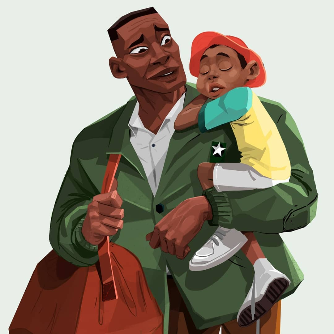 Illustration of father and son by Mogau Kekana
