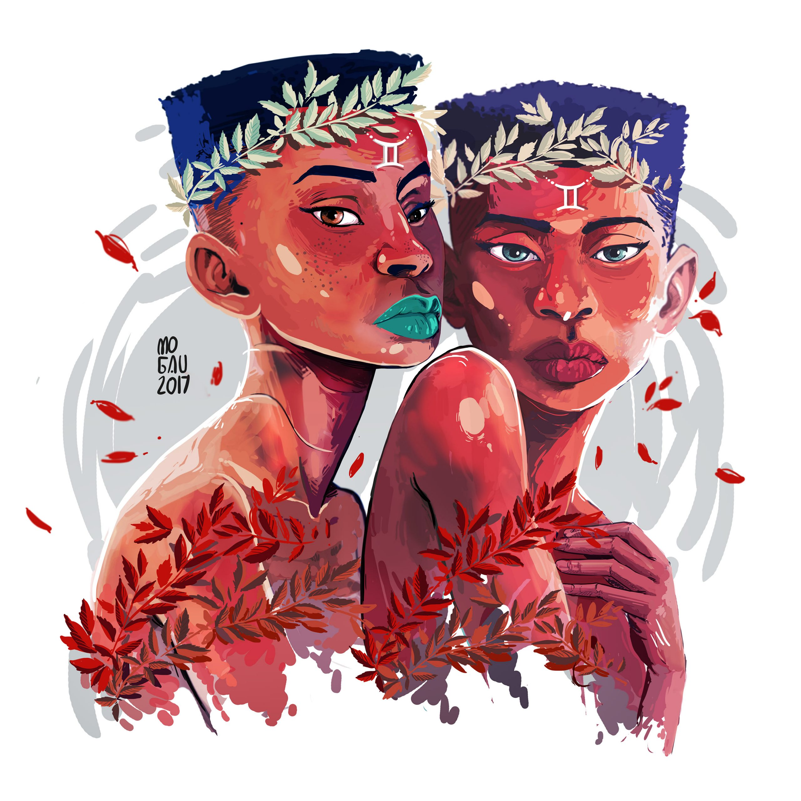 Gemini illustration by Mogau Kekana from the Star-Sign Afro sign illustration series.