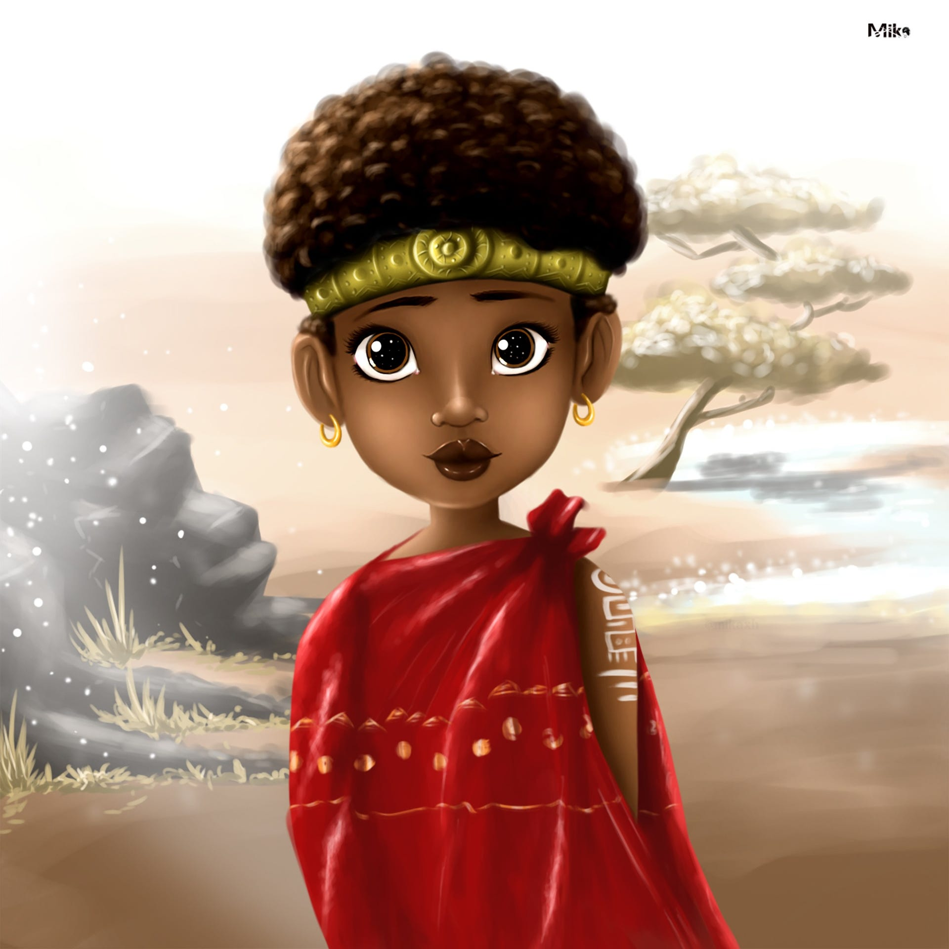Unnamed illustration of a beautiful black girl by Mika