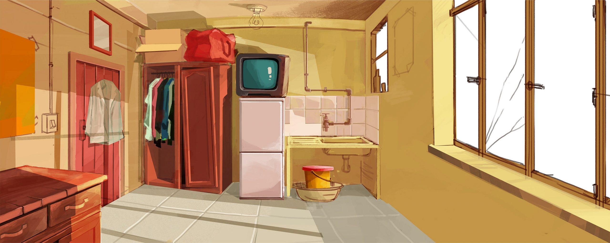 Illustration of a Johannesburg apartment by Mogau Kekana