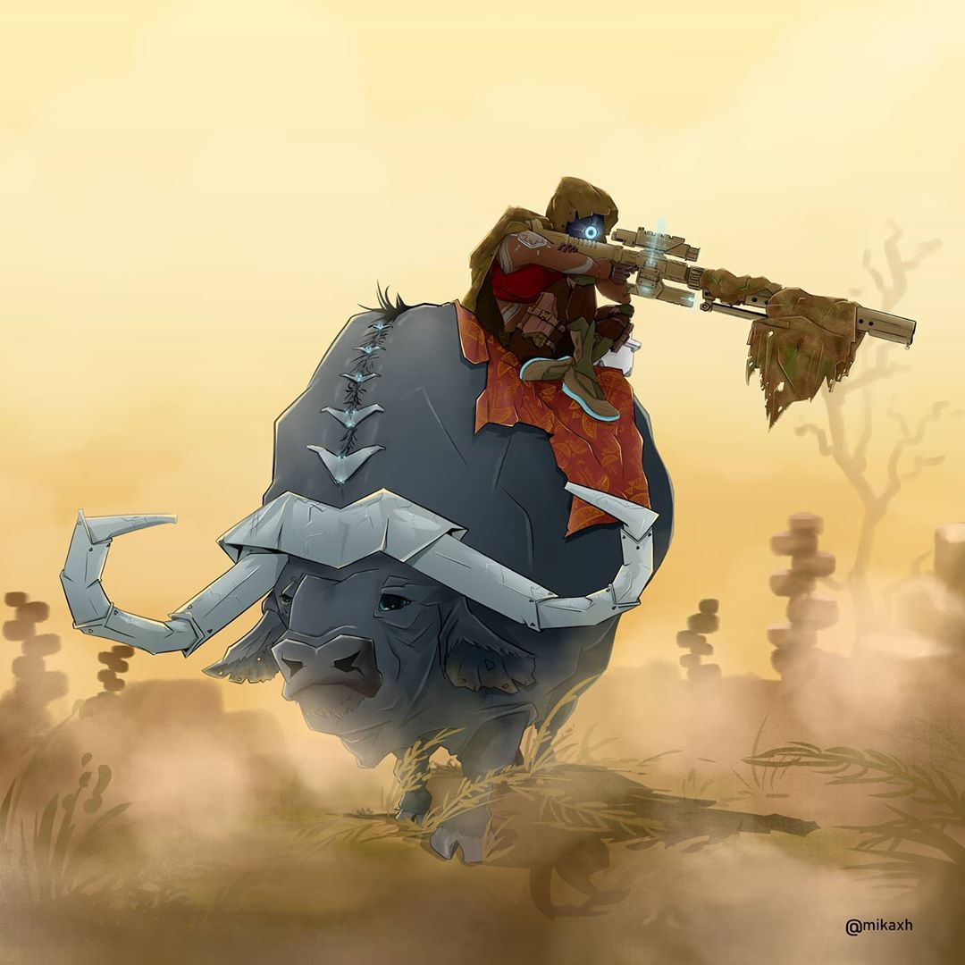 Sniper Elite Code 67 by Mika Hirwa. Illustration of a female sniper, shooting from atop a Rhinoceros.