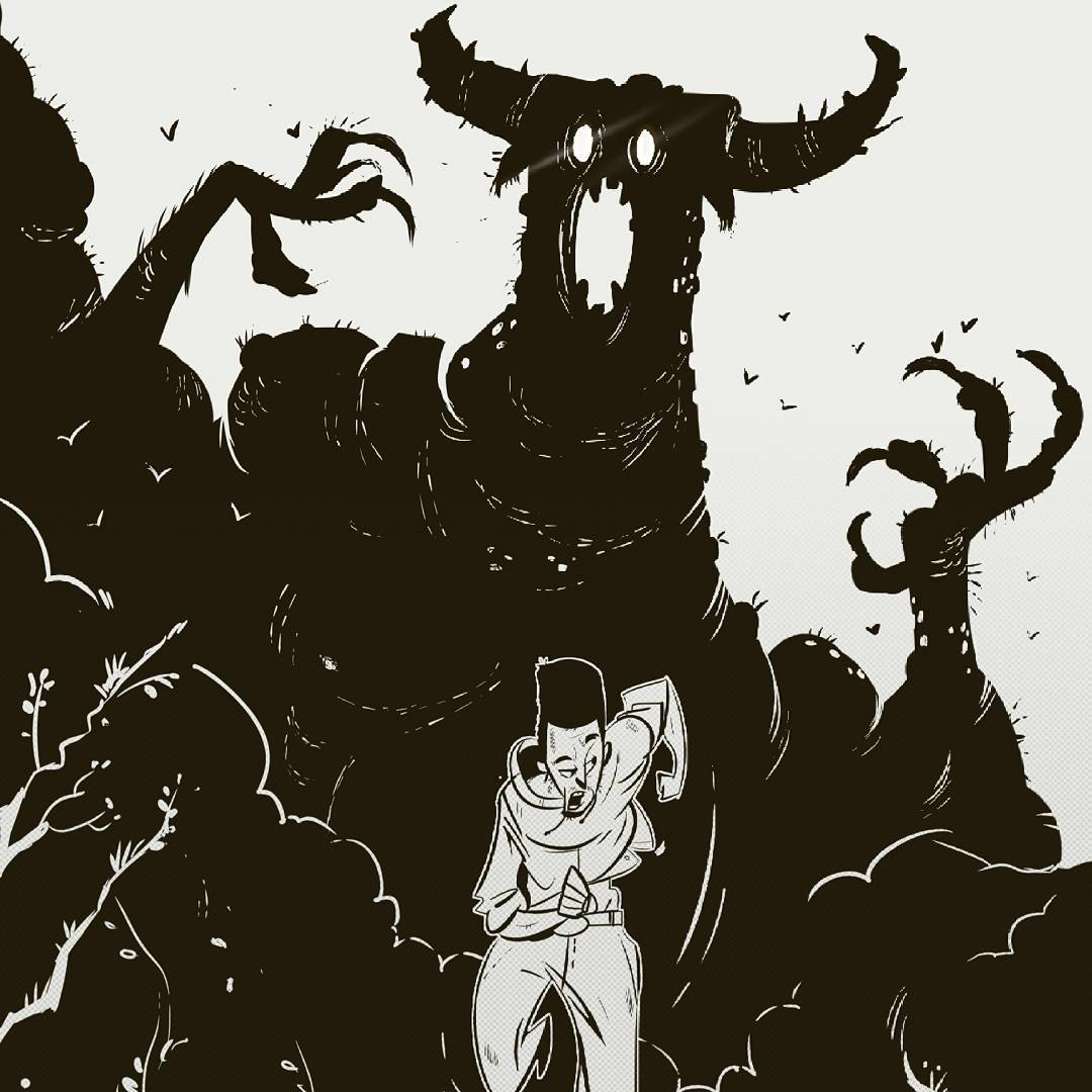 Away from the dark illustration of a man running from a demon of the night by one of Ethiopias illustrators Ermias Assefa