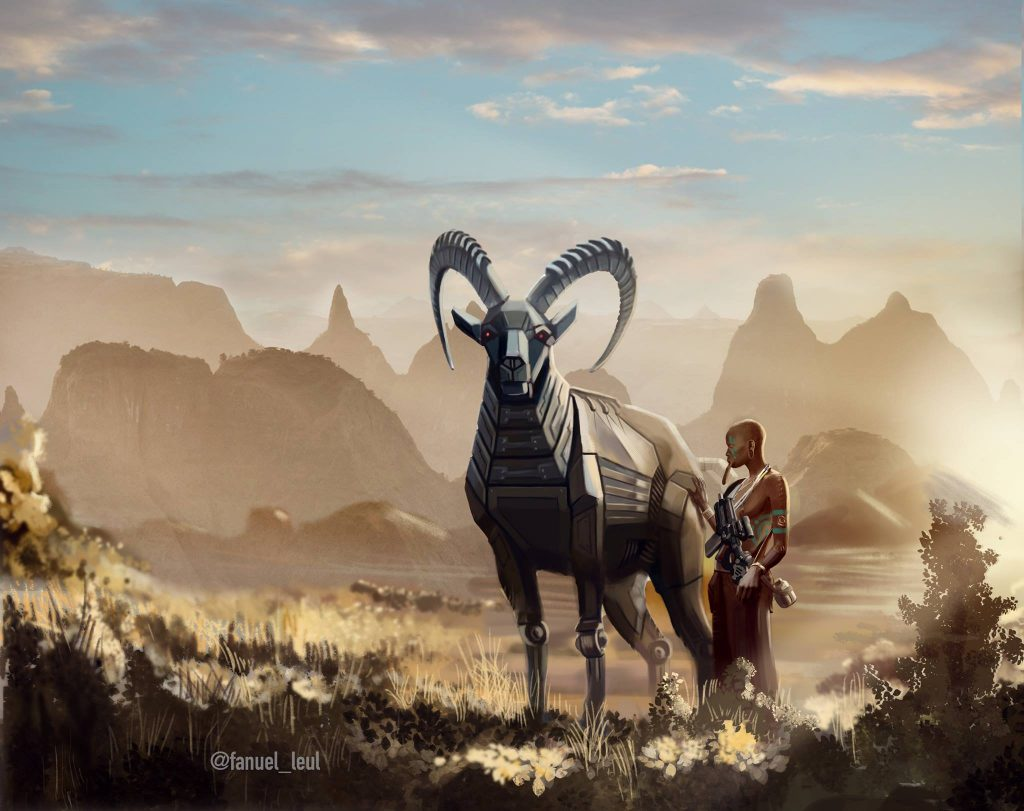 Futuristic Africa illustration by Fanuel Leul