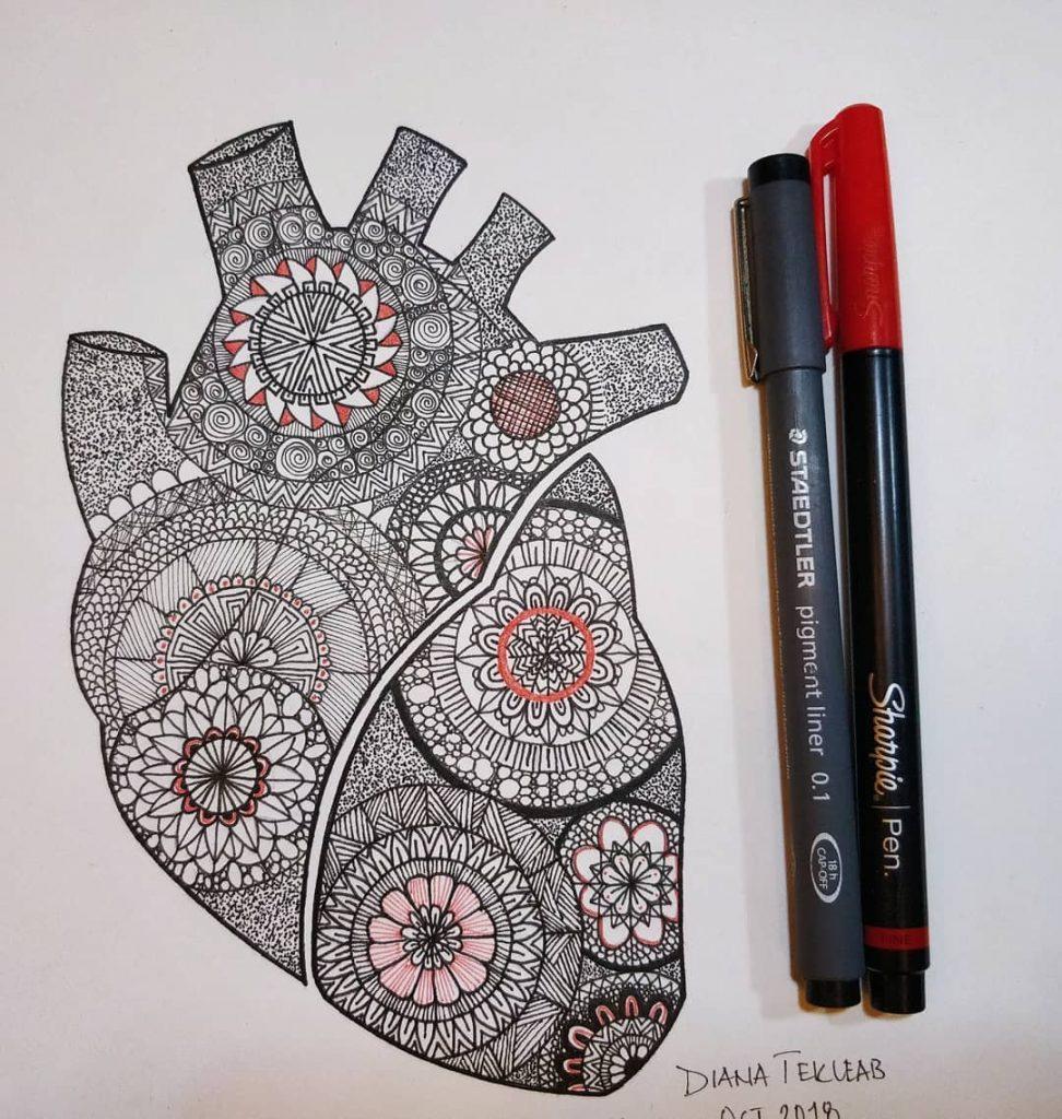Heart Mandala by Diana Tekleab, an Ethiopian illustrators