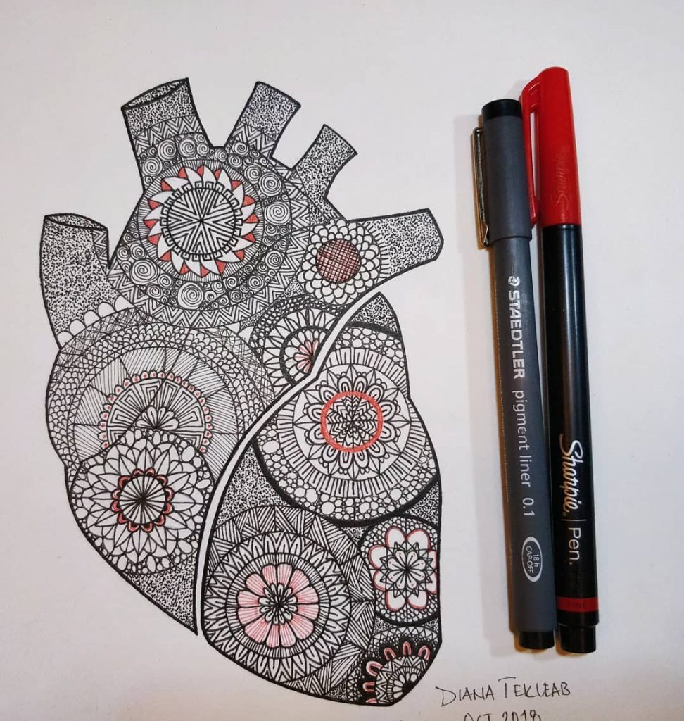 Heart Mandala by Diana Tekleab, an Ethiopian illustrators