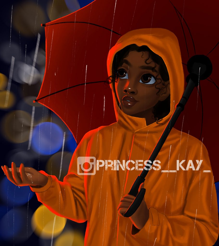 Illustration of a girl with an umbrella in the rain by Princess Karibo