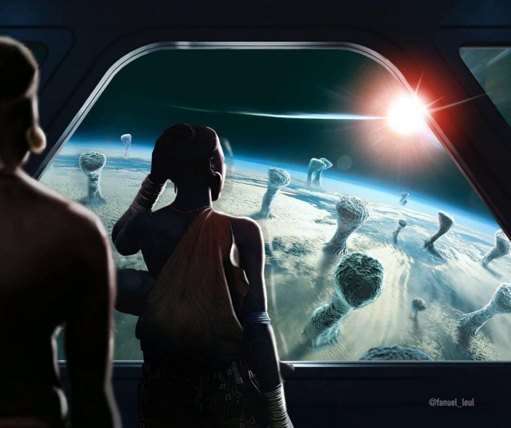 Illustration by Fanuel Leul of two Afronauts looking keeping away from covid 19 from space.
