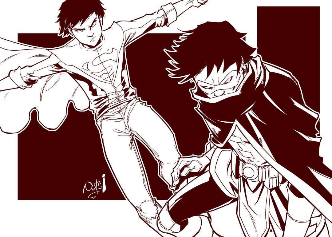 Superboy and Robin illustration by Stanch Obende
