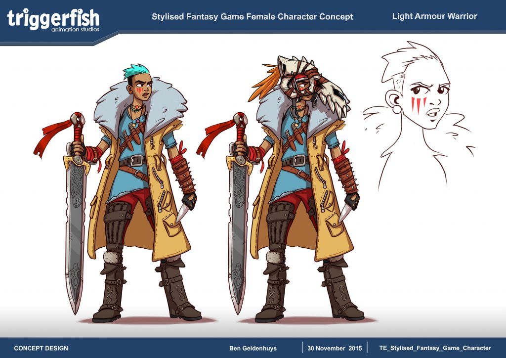 Light Armour Warrior - Stylized fantasy game female character concept triggerfish Ben Geldenhuys .jpg