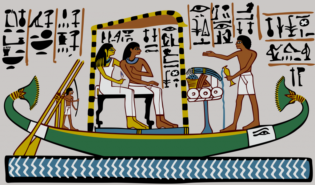 Vector Illustration of Ancient Egypt Egyptian Relief, Papyrus Reed Boat