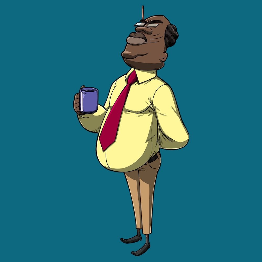Mr Prinicipal Sir, potbellied prinicpal of Mishima School holding a blue mug, has a pencil in his hair. Wearing a yellow shirt with a red tie.   From the comic Dafe, Friends and All of Mishima by TAG Comics